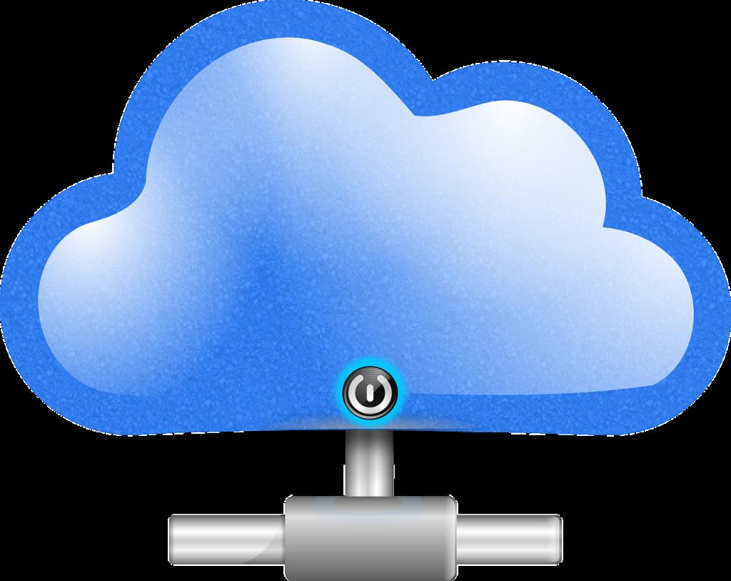 Eine Wolke mit Netzwerkanschluss und Ein- und Ausschalter