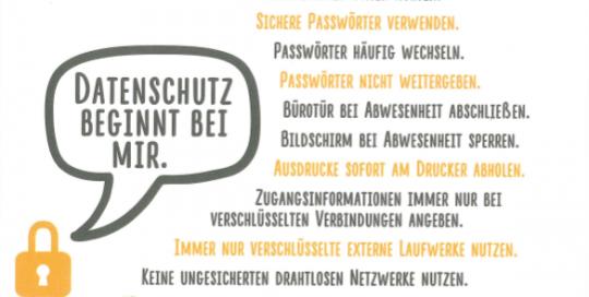 Postkarte mit Datenschutzregeln