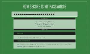 Screenshot von der Webseite howsecureismypassword.net nach der Prüfung eines sicheren Passwortes.