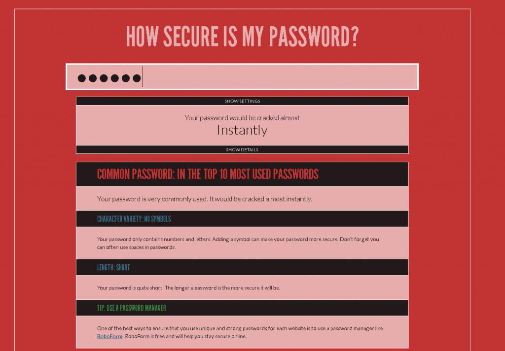Screenshot von der Webseite howsecureismypassword.net nach der Prüfung eines unsicheren Passwortes.