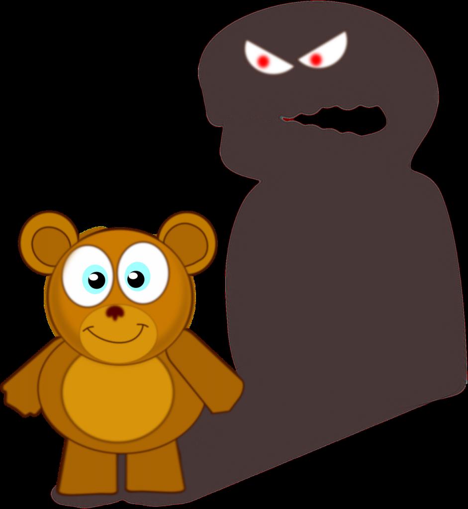 Niedlicher Teddy mit Schatten von einem Monster