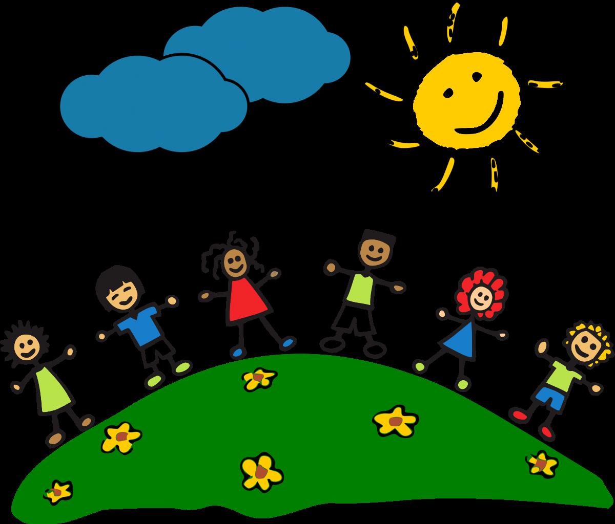 Strichmännchenkinder auf einem Blumenwiesenhüel unter Sonne und zwei Wolken